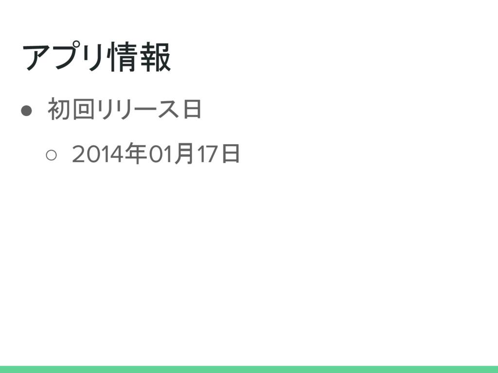 アプリ情報 ● 初回リリース日 ○ 2014年01月17日