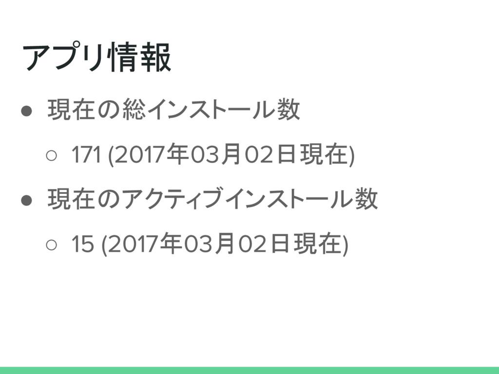 アプリ情報 ● 現在の総インストール数 ○ 171 (2017年03月02日現在) ● 現在の...