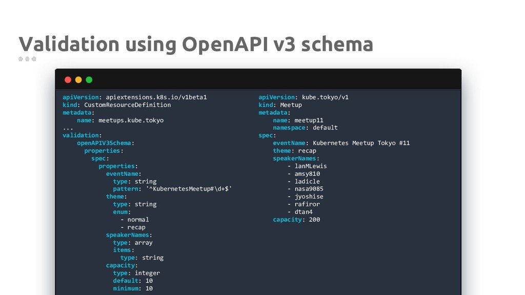 Validation using OpenAPI v3 schema apiVersion: ...