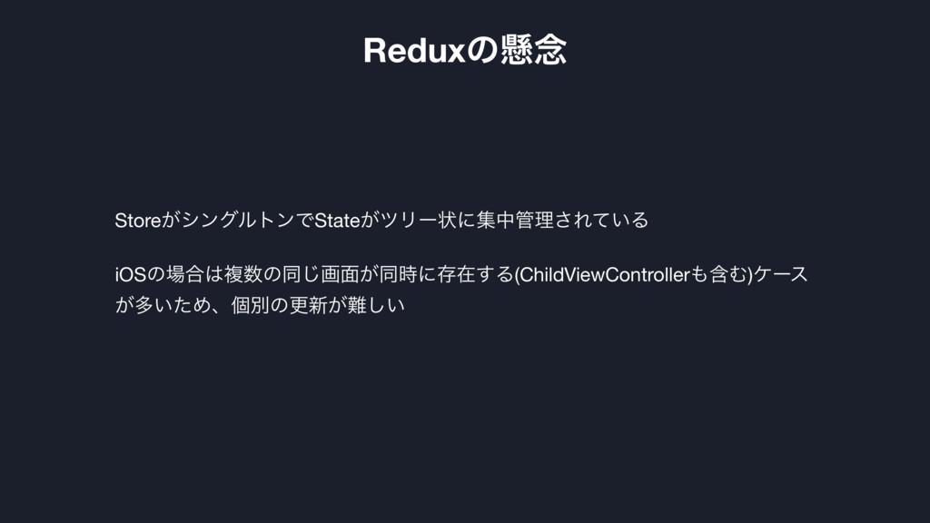 Reduxͷݒ೦ Store͕γϯάϧτϯͰState͕πϦʔঢ়ʹूதཧ͞Ε͍ͯΔ  iOS...