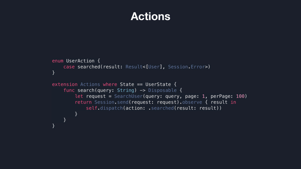 Actions enum UserAction { case searched(result:...