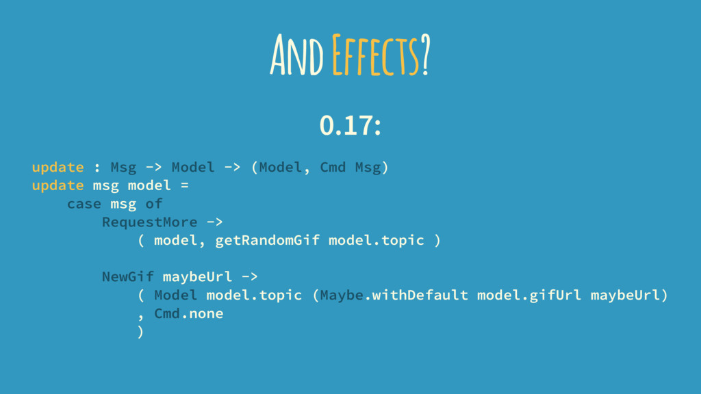 And Effects? 0.17: update : Msg -> Model -> (Mo...