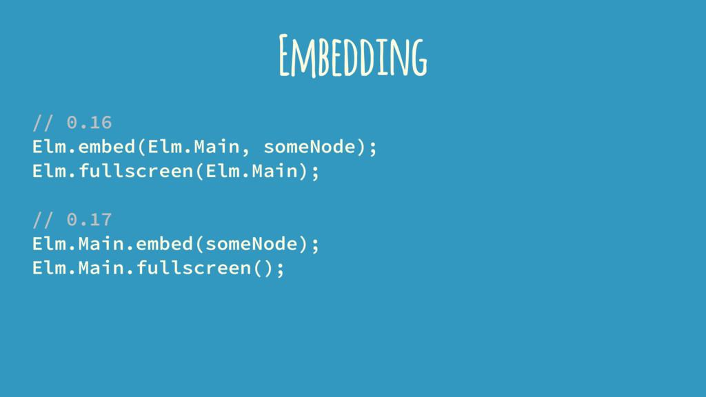 Embedding // 0.16 Elm.embed(Elm.Main, someNode)...
