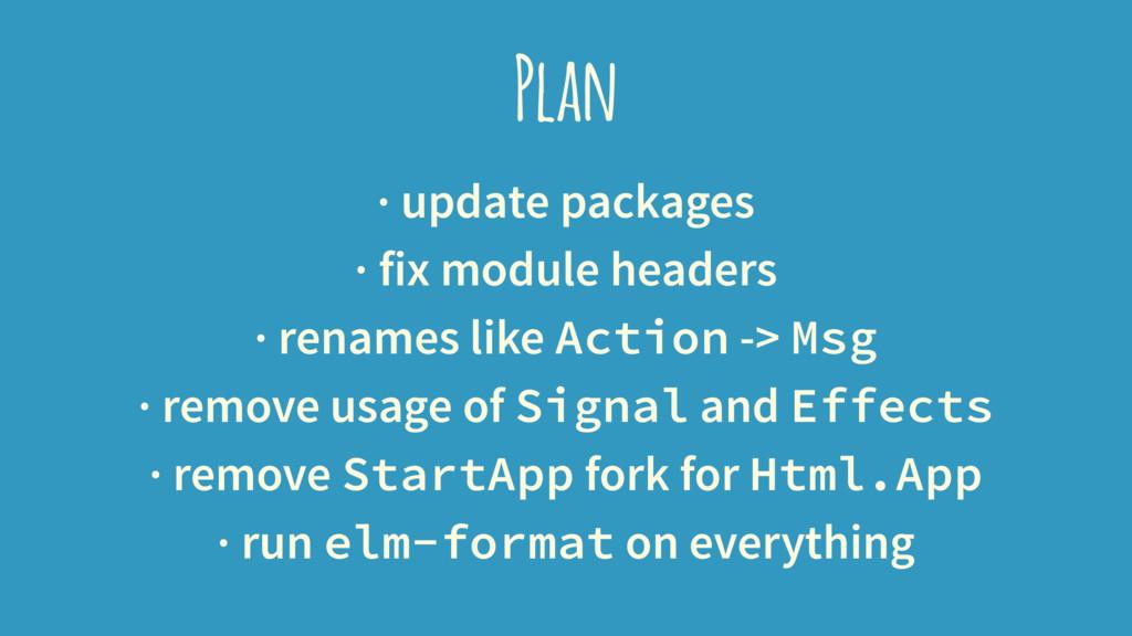 Plan · update packages · fix module headers · r...