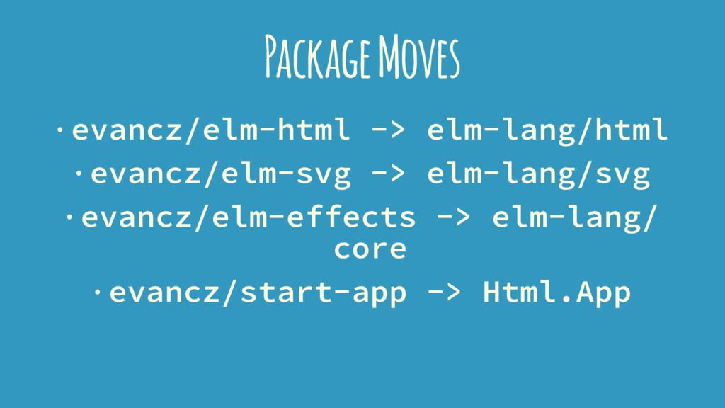 Package Moves · evancz/elm-html -> elm-lang/htm...