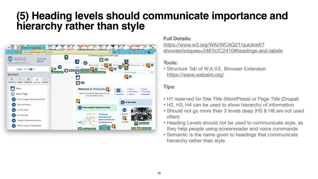 (5) Heading levels should communicate importanc...