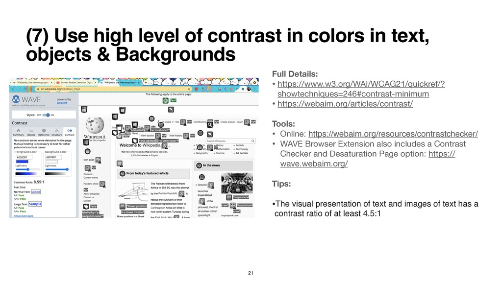 (7) Use high level of contrast in colors in tex...