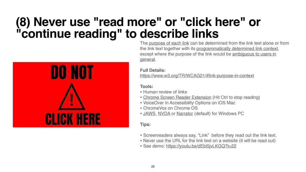 """(8) Never use """"read more"""" or """"click here"""" or """"c..."""