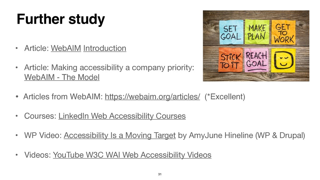 Further study • Article: WebAIM Introduction   ...