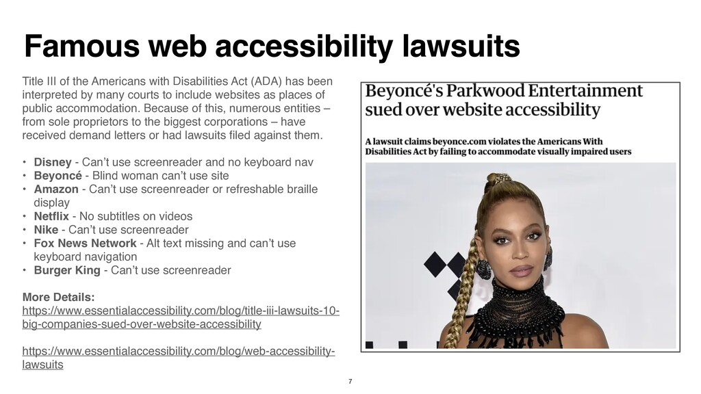 Famous web accessibility lawsuits Title III of ...