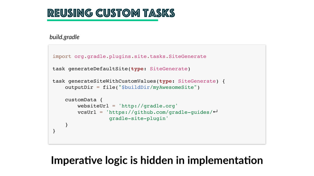 reusing custom tasks import org.gradle.plugins....