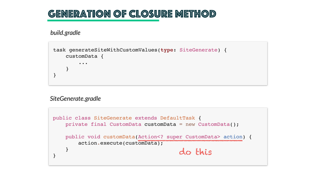 generation of closure method SiteGenerate.gradl...