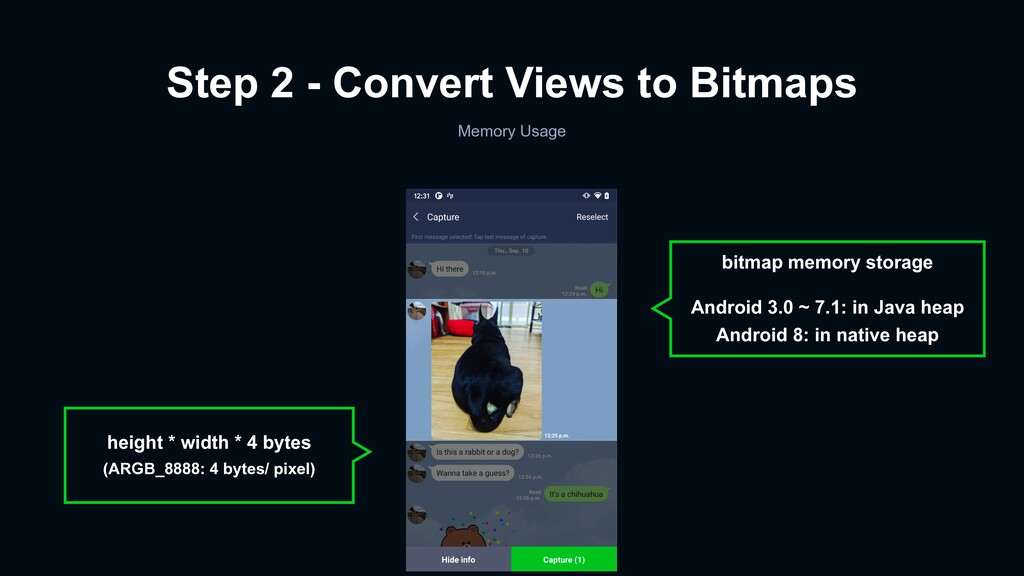 Step 2 - Convert Views to Bitmaps Memory Usage ...