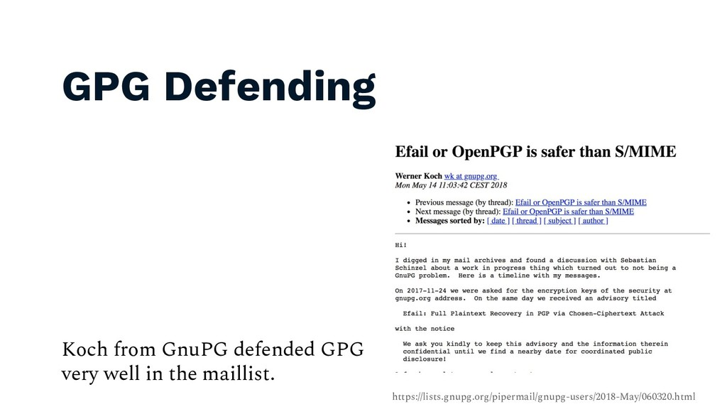 GPG Defending 48 Koch from GnuPG defended GPG v...