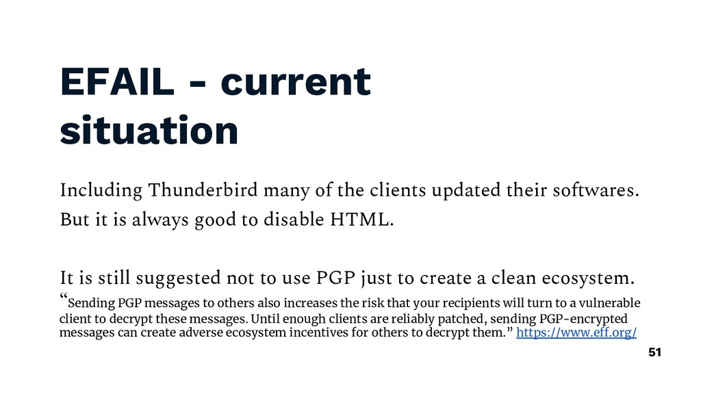 EFAIL - current situation Including Thunderbird...