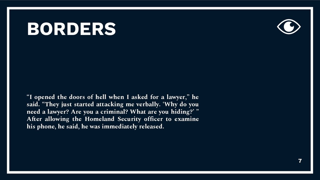 "BORDERS ""I opened the doors of hell when I aske..."