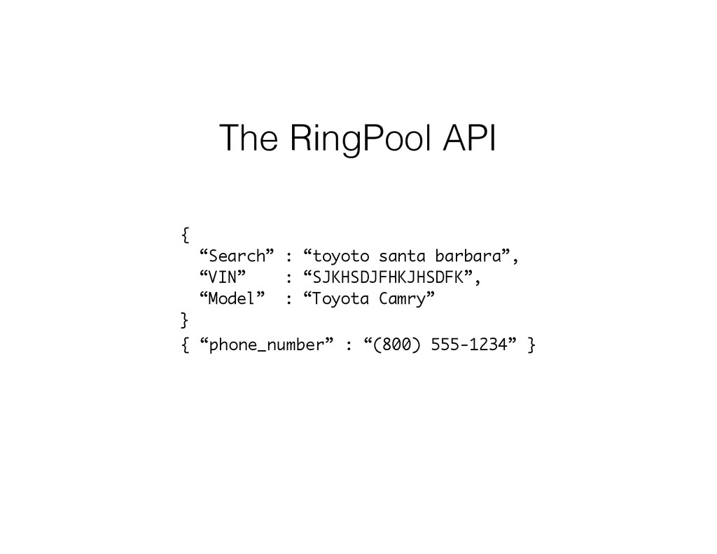 "The RingPool API {  ""Search"" : ""toyoto santa b..."
