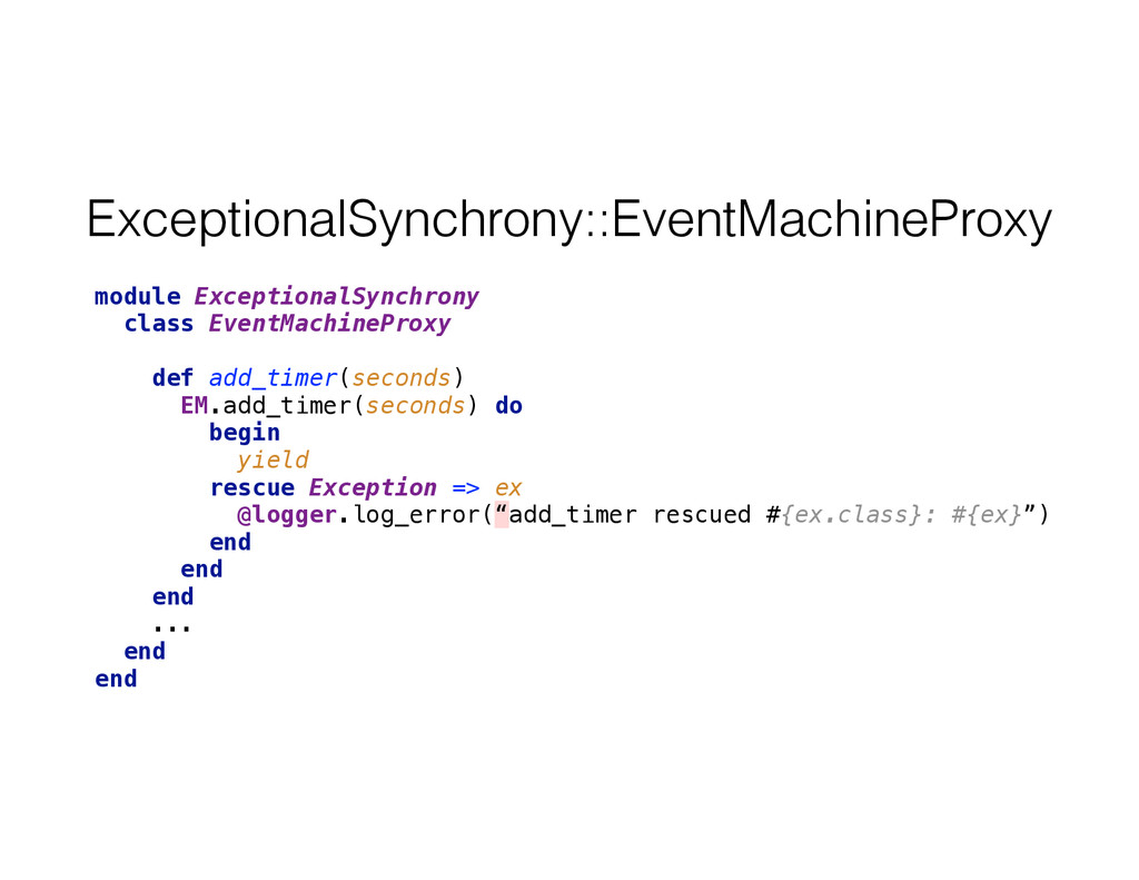 ExceptionalSynchrony::EventMachineProxy module ...