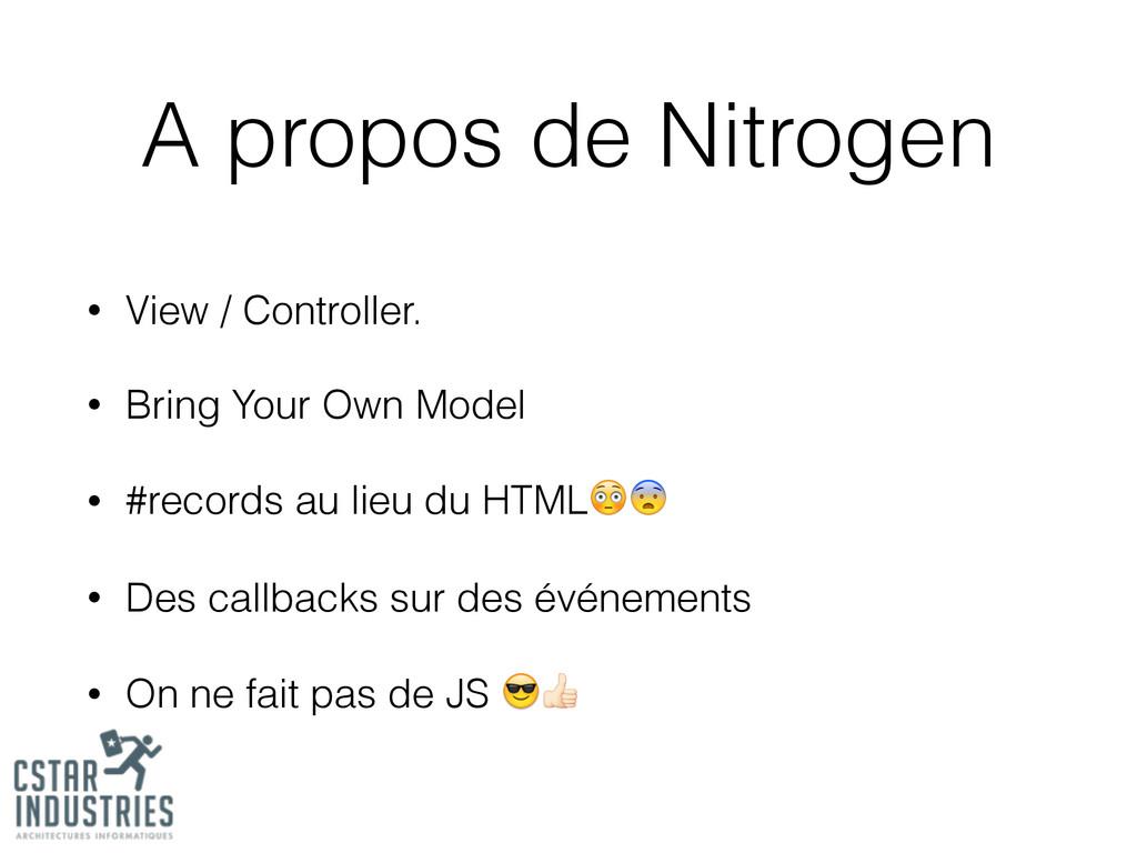 A propos de Nitrogen • View / Controller. • Bri...