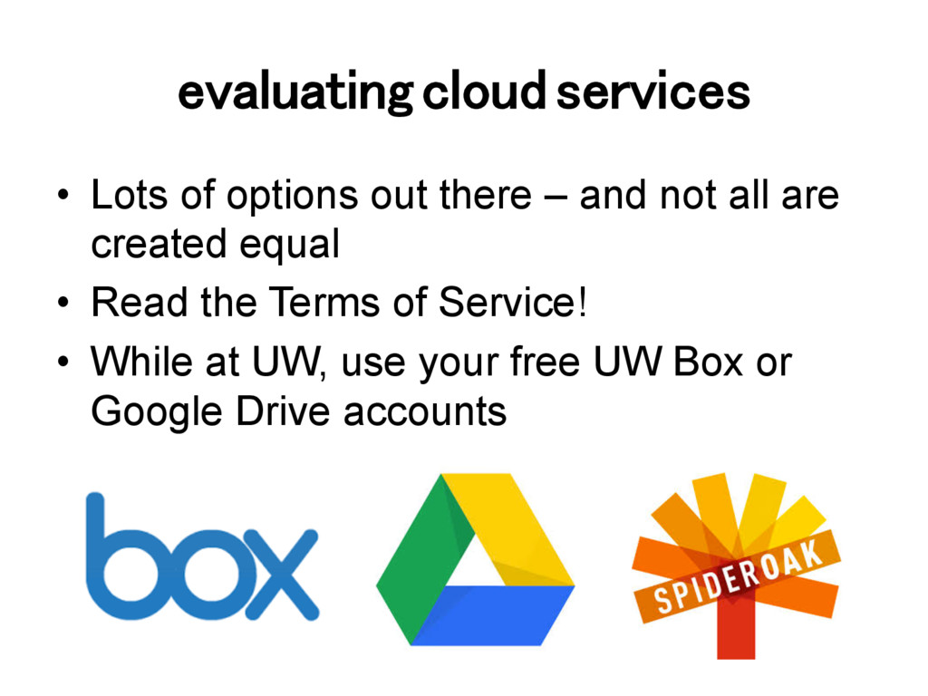 evaluating cloud services! •  Lots of options o...
