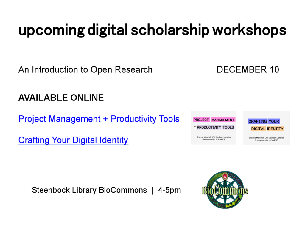 upcoming digital scholarship workshops! An Intr...