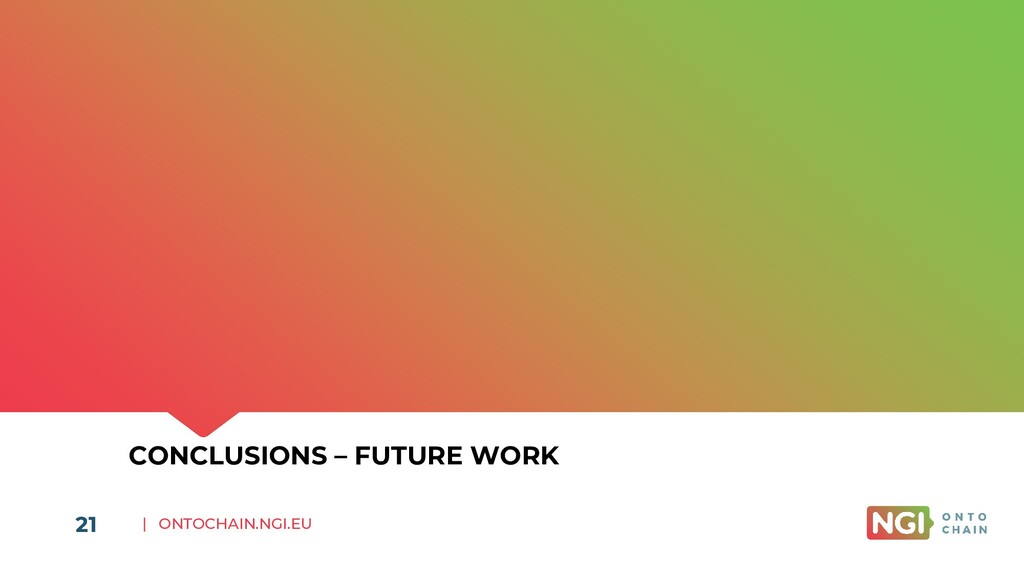 | ONTOCHAIN.NGI.EU 21 CONCLUSIONS – FUTURE WORK...