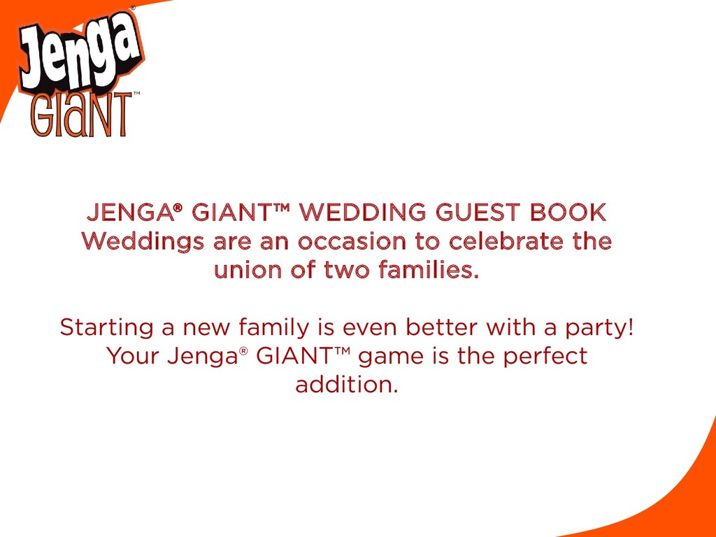 JENGA® GIANT™ WEDDING GUEST BOOK Weddings are a...