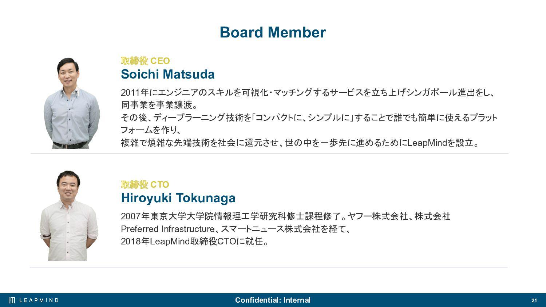 21 エンジニアの働き⽅について LeapMindでは、エンジニアがそれぞれの分野のエキスパー...