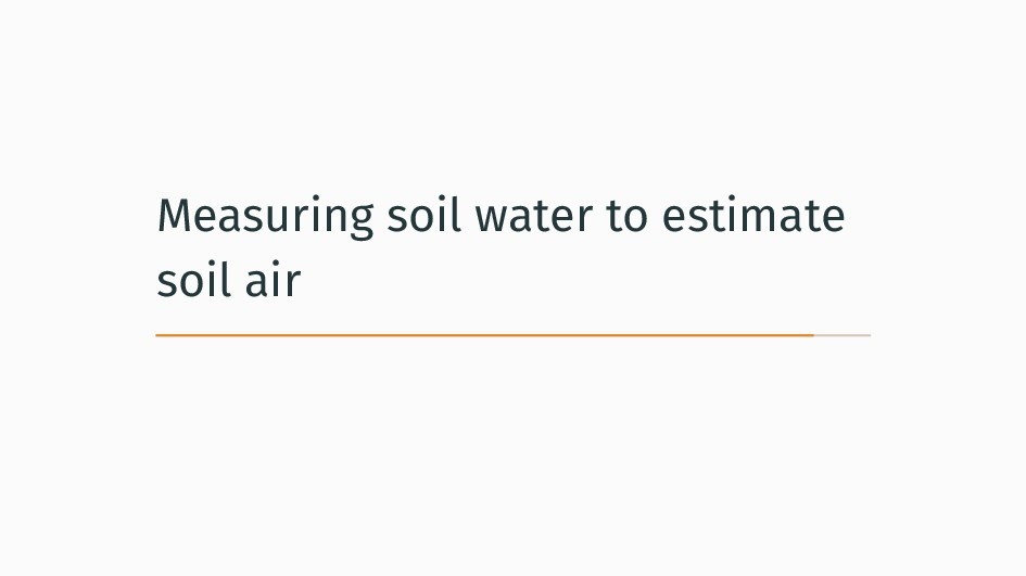 Measuring soil water to estimate soil air