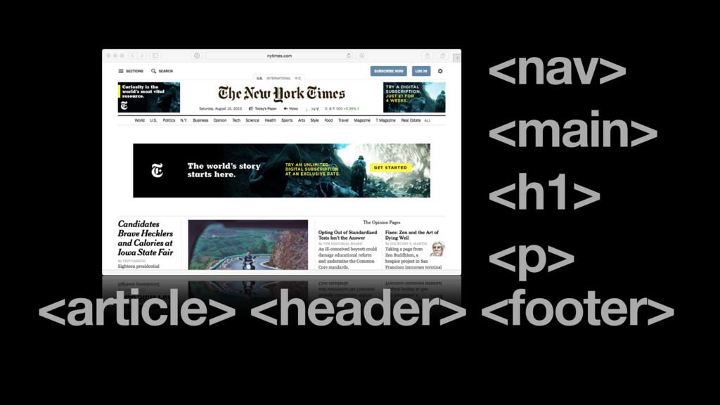 <nav> <main> <h1> <p> <article> <header> <foote...