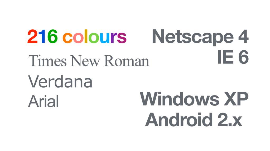 216 colours Times New Roman Arial Verdana Netsc...