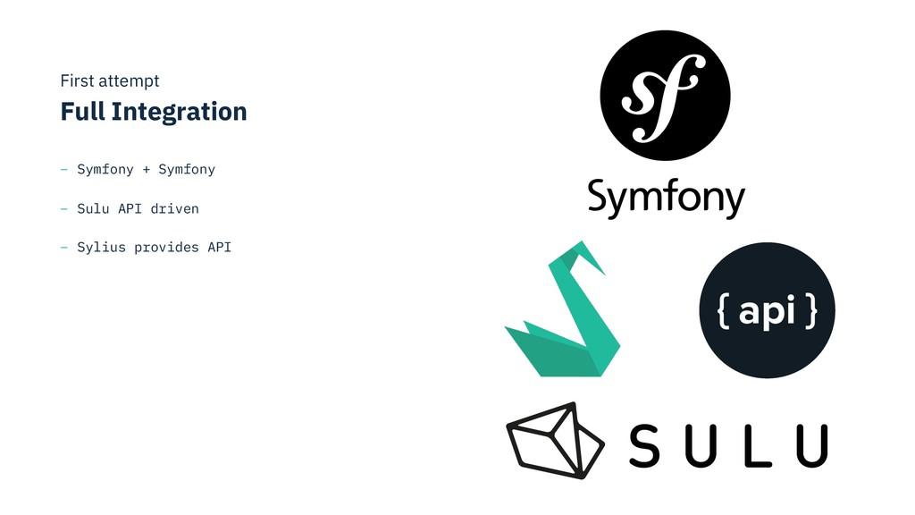 First attempt Full Integration – Symfony + Sym...