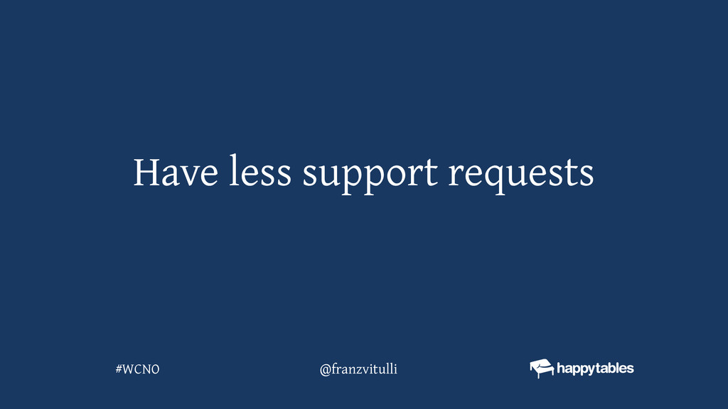 Have less support requests @franzvitulli #WCNO