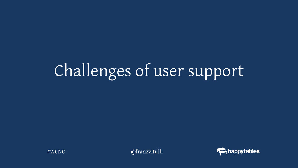 Challenges of user support @franzvitulli #WCNO