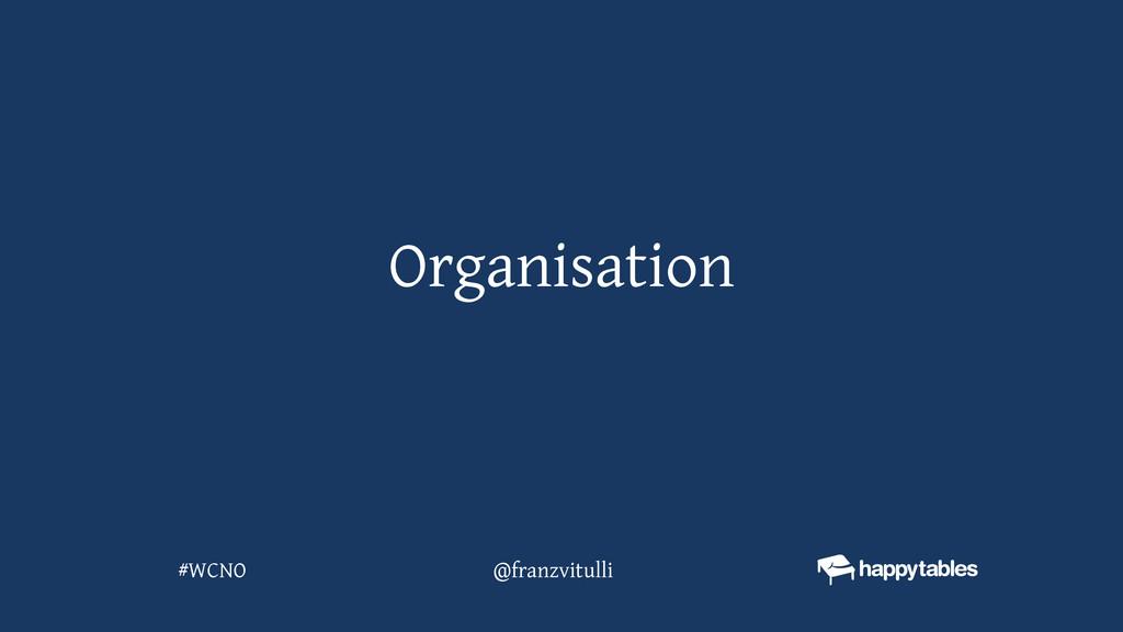 Organisation @franzvitulli #WCNO