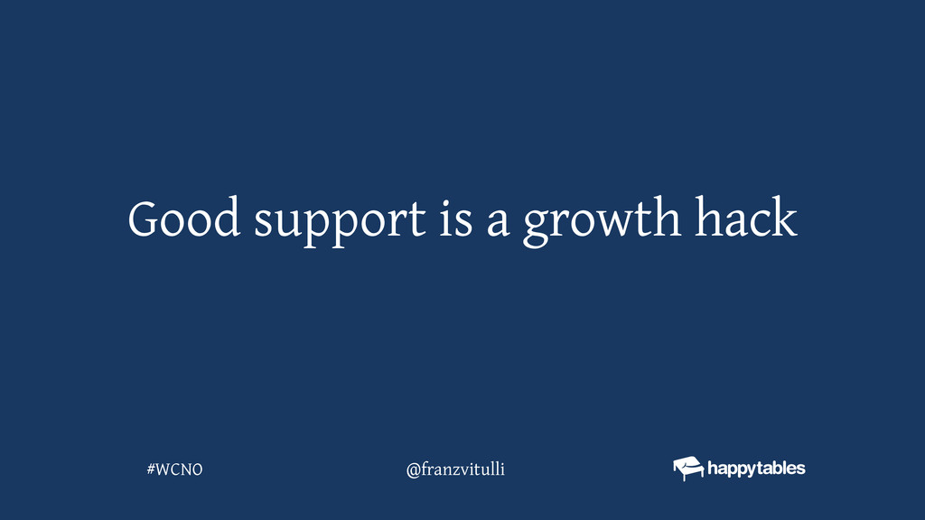 Good support is a growth hack @franzvitulli #WC...