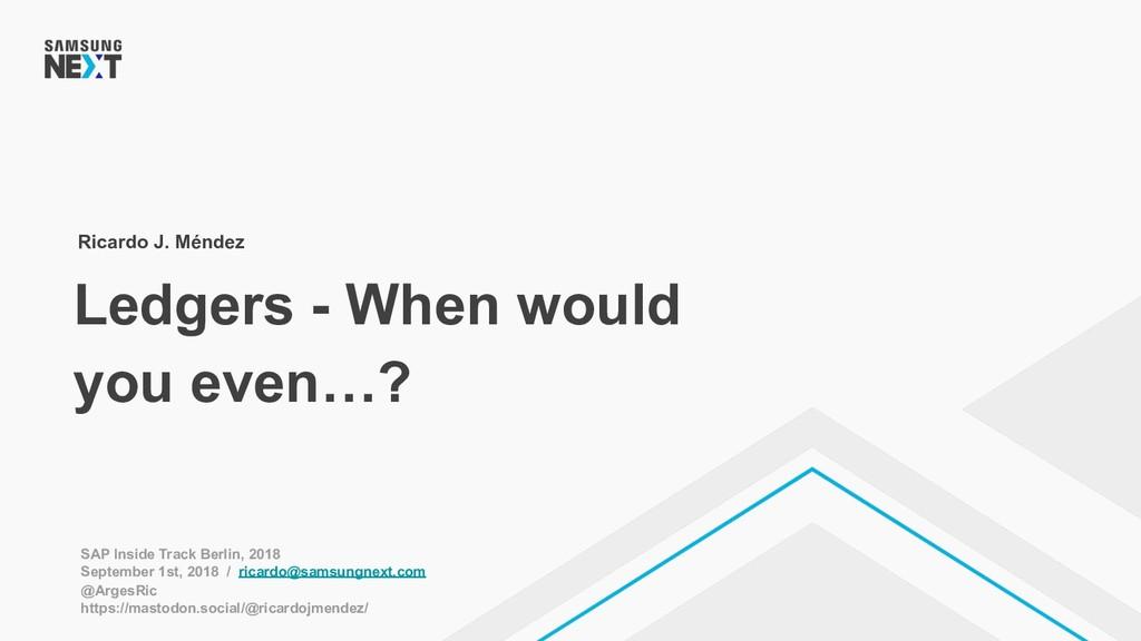 Ledgers - When would you even…? Ricardo J. Ménd...