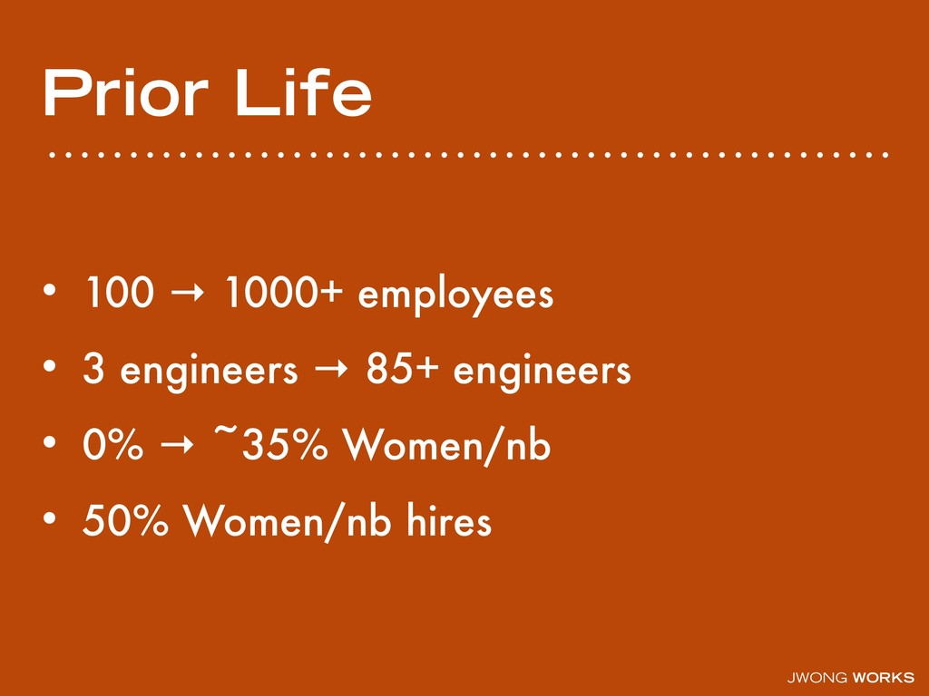 JWONG WORKS Prior Life • 100 → 1000+ employees ...