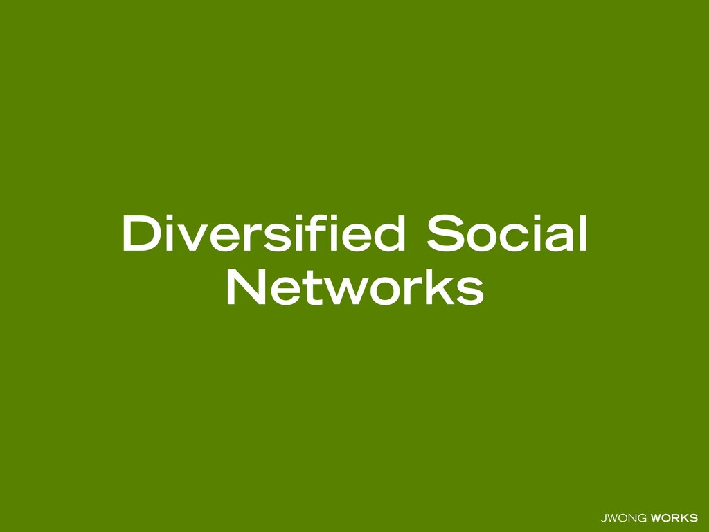JWONG WORKS Diversified Social Networks