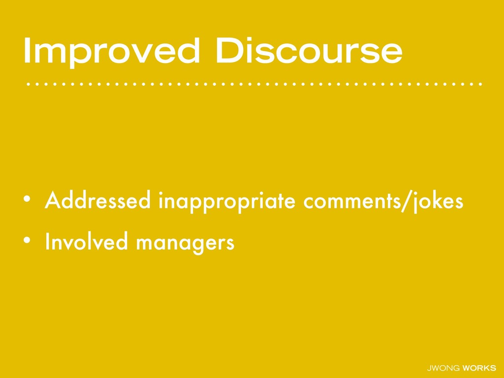 JWONG WORKS Improved Discourse • Addressed inap...
