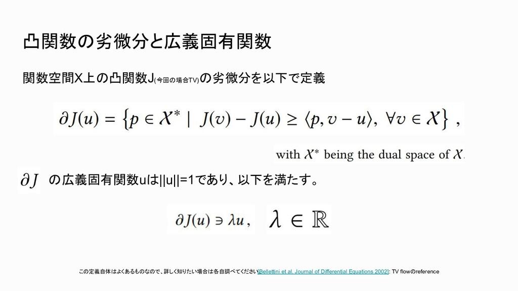 凸関数の劣微分と広義固有関数 関数空間Χ上の凸関数J(今回の場合TV) の劣微分を以下で定義 ...
