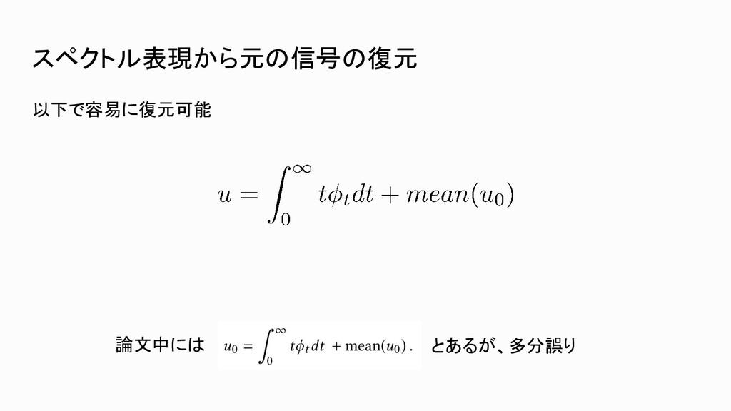 スペクトル表現から元の信号の復元 以下で容易に復元可能 論文中には とあるが、多分誤り