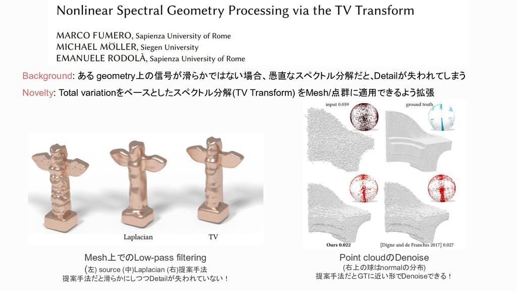 Background: ある geometry上の信号が滑らかではない場合、愚直なスペクトル分...