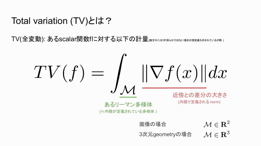 Total variation (TV)とは? TV(全変動): あるscalar関数fに対す...