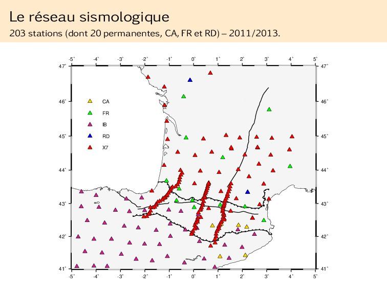 Le réseau sismologique 203 stations (dont 20 pe...