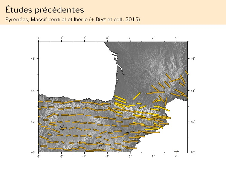 Études précédentes Pyrénées, Massif central et ...