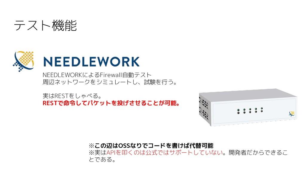 テスト機能 NEEDLEWORKによるFirewall自動テスト 周辺ネットワークをシミュレー...