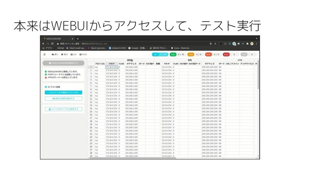本来はWEBUIからアクセスして、テスト実行