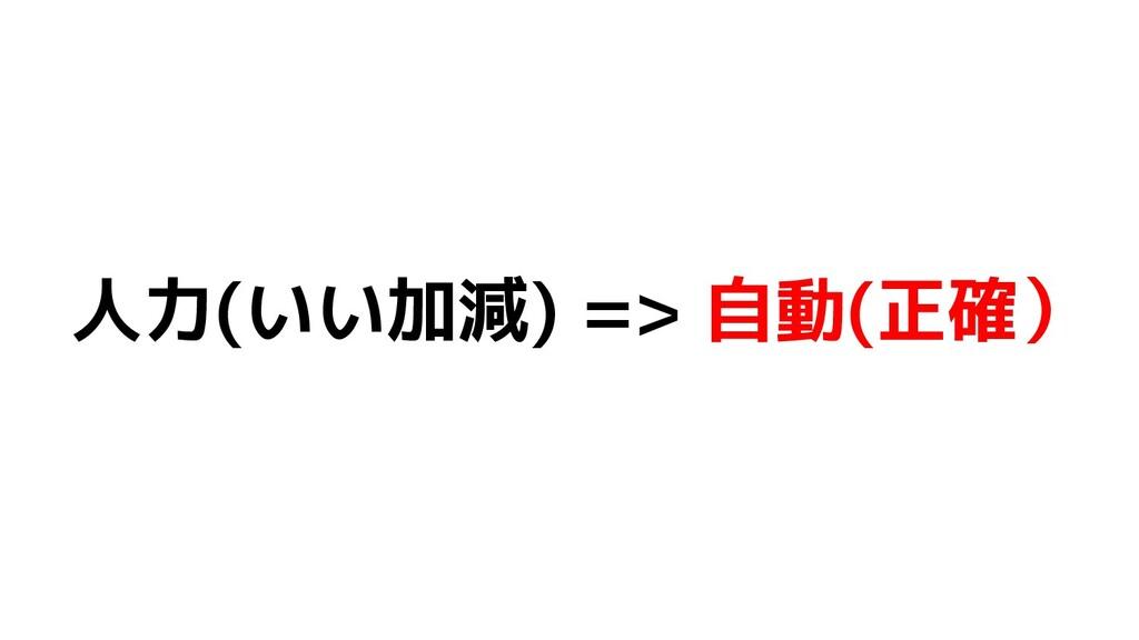 人力(いい加減) => 自動(正確)