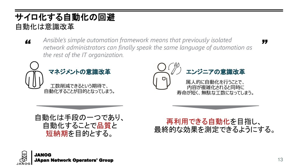 "JANOG JApan Network Operators' Group "" "" サイロ化する..."
